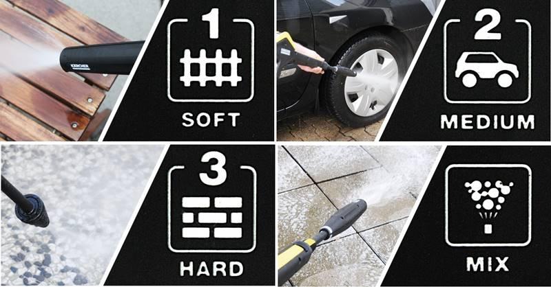 Tres modos de presión y detergente con el sistema 3 en 1 de la karcher k5 FC