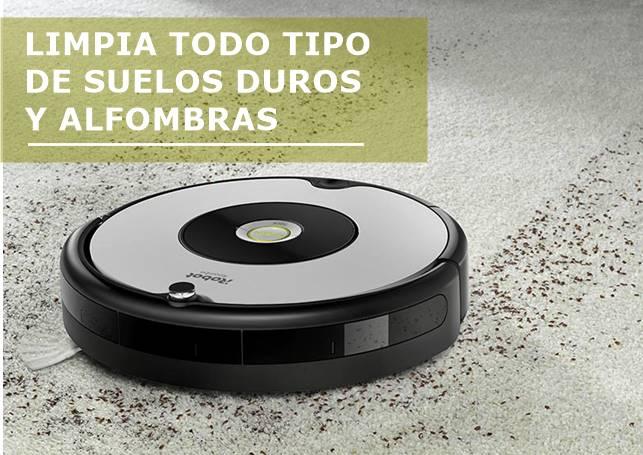 El Roomba 605 limpia todo tipo de suelos