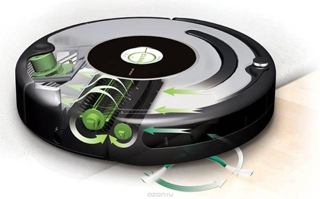 Interior del Aspirador robot Roomba 616