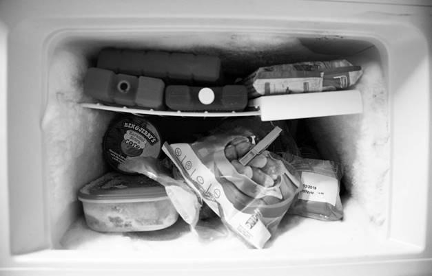 Congelador para pegamento en la ropa