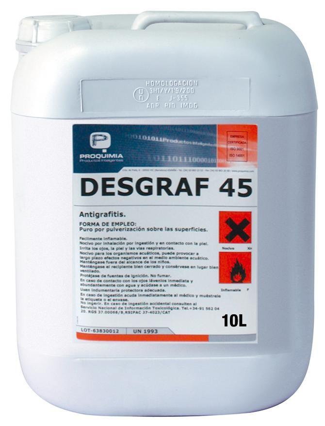 Productos para limpiar grafitis con desgraf 45